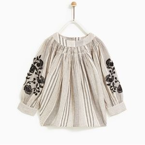 New without tags Zara Embroidered kids shirt